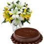 torta-sacher-con-bouquet-di-gigli-gialli-e-bianchi